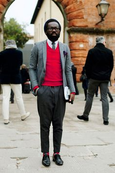 Sam Lambert by The Sartorialist. The red is everything in this outfit, sets it apart and makes it all stand out.