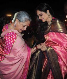 Candid moment of bollywood actress Jayabacchan and Rekha ji