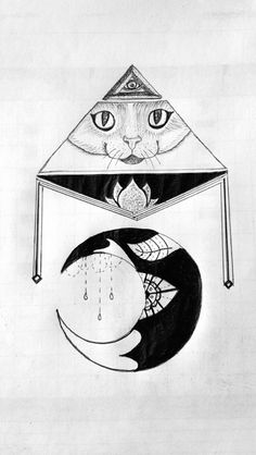 Drawing Cat All seeing eye Moon