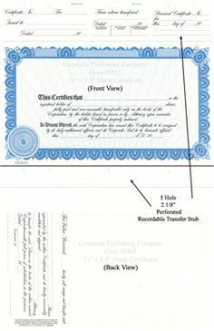 Goes DG3 Letter-Sized Stock Certificate