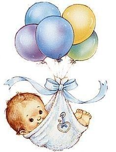 Baby on ballons Clipart Baby, Cute Clipart, Baby Images, Baby Pictures, Cute Pictures, Storch Baby, Baby Boy Cards, Baby Illustration, Images Vintage