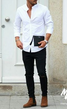 White shirt outfit ideas for men men's street style en 2019 Stylish Mens Outfits, Casual Outfits, Men Casual, Casual Menswear, Look Casual, Casual Styles, Smart Casual, White Shirt Outfits, White Shirt Man