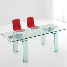 Mesa Azimut extensible con patas en cristal transparente o transparente extraclaro curvado. Design Studio Kronos. Tienda online.
