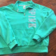 PINK Victoria Secret Green PINK Victoria Secret 1/4 zip sweatshirt worn 2 times only washed 2 times. Boyfriend fit very comfy PINK Victoria's Secret Tops Sweatshirts & Hoodies
