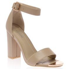Aliya Nude Block Heeled Sandal
