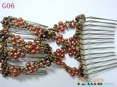 Eozy Clearance :Hair Combs Clips Acrylic EZ Beads Magic Stretchy Brown Fit Kid Girl