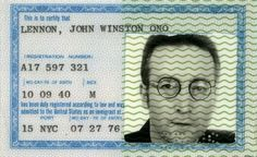 John Lennon's green card, which he received in 1976.