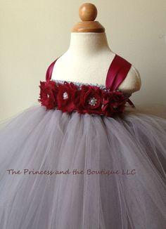 Flower girl dress, tutu dress, gray and burgundy , baby tutu dress, toddler, child tutu dress, Newborn - 24months,2t,3t,4t,5t, wedding
