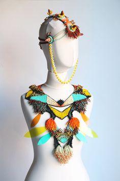 Tribal statement beaded necklace/ large ethnic necklace/ fashion jewelry…
