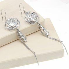 Silver Plated Crystal Rhinestones Dangle Flower& Drop Charms Hook Earrings 9cm Long