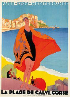 Roger Broders (French; 1883–1953)La Plage de Calvi. Corse. = The Beach at Calvi. Corsica. (1928)Le soleil toute l'année / Sur la Cote d'Azur = The Sun All Year / On the Côte d'Azur (1931)Color lithographs