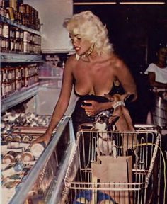 A very tan Jayne Mansfield grocery shopping in L.A.