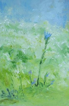Chicory, oil pigment stick by Lillian Coolidge