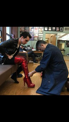 "I'm shook what<<<he was getting his shoes for the broadway show he'll be starring in called ""Kinky Boots"""