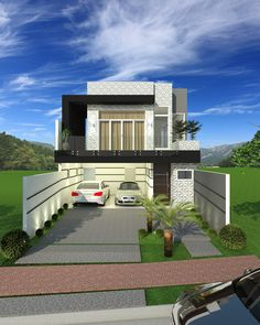 CS - 0027 projeto-planta-casa-sobrado-arquitetura-moderna-180-metros-terreno-8x25 (2) 3d Home, Little Houses, Minimalist Home, Cs, Mansions, House Styles, Home Decor, Lofts, Ideas