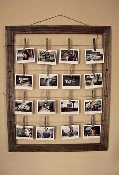 A great idea to create a memory wall of our photos growing up for the reception x