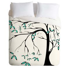 Madart Inc. Garden Delight Aqua Breeze Duvet Cover | DENY Designs Home Accessories