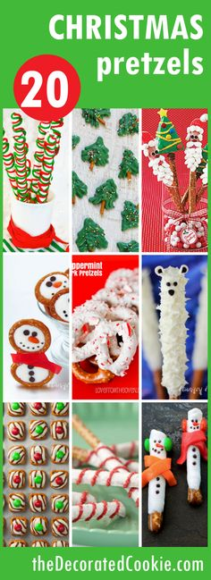 20 Christmas pretzel ideas - easy Christmas treats to make and give! A roundup of 20 CHRISTMAS PRETZELS -- Use store-bought pretzels to create fun homemade Christmas gifts or Christmas treats Christmas Treats To Make, Christmas Pretzels, Christmas Deserts, Homemade Christmas Gifts, Noel Christmas, Christmas Goodies, Holiday Cookies, Christmas Baking, Cookies