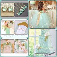 Mint and Gold wedding inspiration board  love the flower girl dress and earrings for bridesmaids!