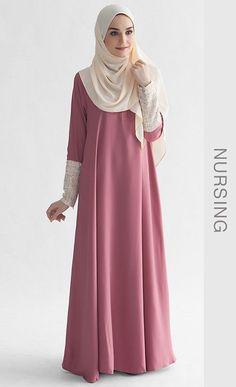 La Chanelia 2.0 Abaya in Mauvewood Pink | FashionValet - Hijab Fashion