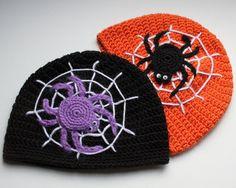 beuatiful crochet hat projects | Beautiful Crocheted Halloween Beanie Hat Web by LenasBoutique, $25.00