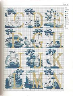 Cross Stitch Alphabet Pattern (C-N)
