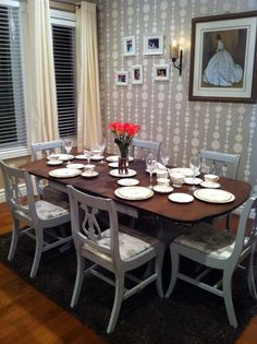 Duncan Phyfe table 6 chairs by Thistle Thatch Designs