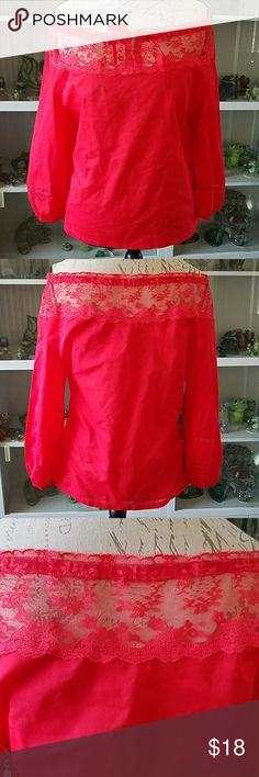Red  lace blouse Carefree fashions light weight red blouse can be worn off or on shoulder lace neckline  gathered wrists with lace red ribbon. To tie it off with   VINTAGE EXCELLENT CONDITION   WOMAN'S XS carefree fashions Tops Blouses