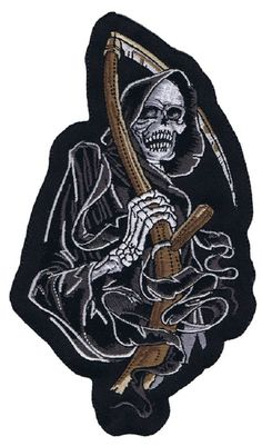 DARK DEATH REAPER with Scythe Mc Outlaw Embroidered Motorcycle Biker Patch