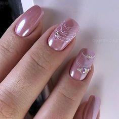 34 Most Sexy And Trendy Wedding Nail Art This Year - The most beautiful nail designs Almond Nails Designs, Pink Nail Designs, Fall Nail Designs, Pink Design, French Manicure Nails, Nude Nails, Pink Nails, Natural Wedding Nails, Bridal Nail Art