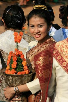 Lao Traditional Costume at That Luang Festival, Vientiane
