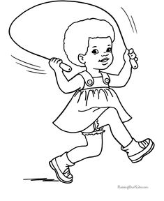Skip rope coloring page to print