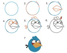 how to draw angry bird step by step - Google Search