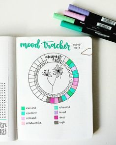 bullet journal mood tracker wheel flowers