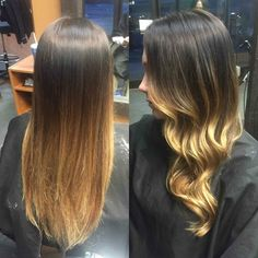 Ecaille Tortoise Shell Haircolor. Straight vs Curled Seamless Balayage Ombre- Hair by Linda Bang