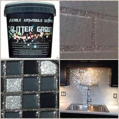 Glitter grout for your next glam DIY home improvement project Glitter Grout, Glitter Paint For Walls, Glitter Bathroom, Glitter Eyeshadow, Bling Bathroom, Glitter Mirror, Glitter Wallpaper, Glitter Paint Kitchen, Glitter Paint Backsplash