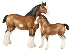 "Breyer Clydesdale Mare And Foal by Breyer. Save 19 Off!. $44.35. From the Manufacturer                Known as ""gentle giants"" for their large size and easy-going temperaments, the Clydesdale is used for pulling, riding and driving. While their coloring is typically bay or chestnut with flashy white feathering on their legs, some Clydesdales display white sabino markings or roan coloring. The height of an adult Clydesdale can range upwards form 16 hands to more than 18 hands high and they ca..."