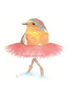 Bird Watercolor - Original Art, Ballet, 8x10