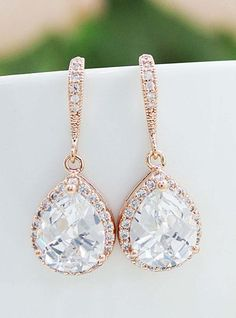 LUX Rose Gold clear white cubic zirconia Crystal tear drop Wedding Earrings