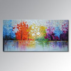 Everfun Art Hand Painted Palette Knife Oil Painting Modern Abstract Wall Art Haning Lake Scenery Landscape Canvas Picture Framed Ready to Hang 48W x 24H * Learn more by visiting the image link.