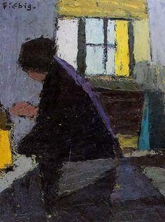 Frédéric Fiebig - La cuisine 1930 - Thème : Nicolas de Staël - Huile sur carton léger - Couverture du catalogue de l'exposition à la Shepherd Gallery en 1990.