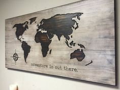 Nursery Decor Idea, Wood Wall Art, World Map, Wooden Map, Rustic, Adventure is Out There, Carved, Graduation gift, Wedding Gift idea