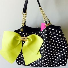 """Betsy Johnson Citron Bow-Licious Polkadot Tote! Brand new with tags.  faux leather tote will add a fun style to any outfit. Tote is large enough to carry your laptop plus your essentials. Open top magnetic closure with 2 interior compartments, a center divider zip pocket, a wall zip pocket, and 2 media pockets. Approx 11"""" H x 16"""" W x 4.25"""" D Strap drop 9.5"""" Betsey Johnson Bags Totes"""