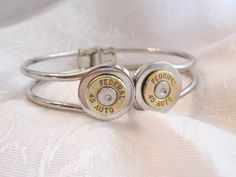 Bangle Ammo Bracelet - hinged closed with two .45 caliber bullets - 9mm, 45 caliber, 40 caliber, 30-06, 38, or any other caliber by ShadedLines, $30.00