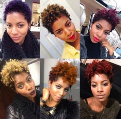 Playful colours on short natural hair