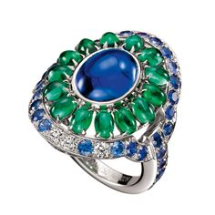 Boucheron Dolce Riviera Ring. Diamonds, sapphires, emeralds.
