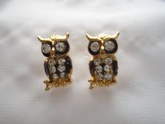 Crystal & Black Owl Unique Handmade Gold-Plated by OneOfferJewelry