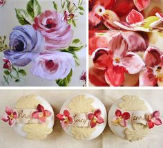 Amelie's House: Painted rose and hydrangea wedding cake