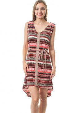Round neck sleeveless tribal stripe hi-low dress featuring shoulder straps with button and waist tie. Greet the sun with this fitting summer dress.  $11.95
