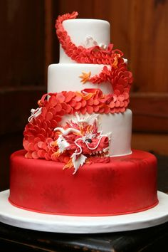 Red Chinese dragon wedding cake www.tablescapesbydesign.com https://www.facebook.com/pages/Tablescapes-By-Design/129811416695